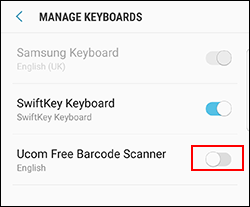 Android barcode scanner Android Keyboard Manager