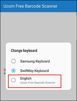 Android barcode scanner Android select keyboard