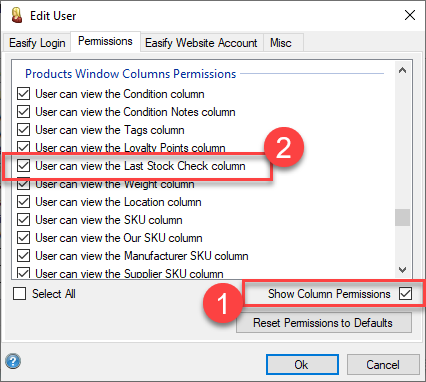 Easify Web - Stock Take column permission