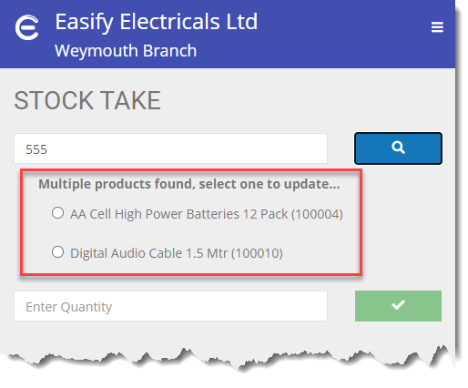 Easify Web - Stock Take Multiple products