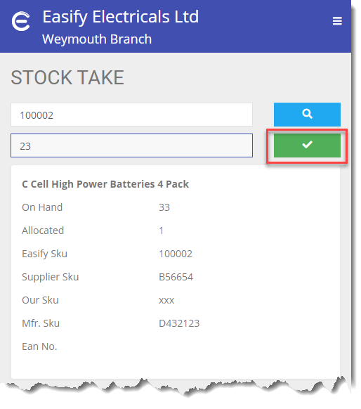 Easify Web - Stock Take quantity button