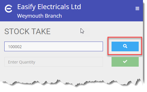 Easify Web - Stock Take Stock Search Button