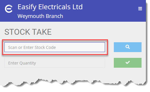 Easify Web - Stock Take Stock Code Box