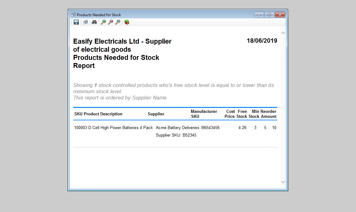 example of report showing you what you need to purchase for stock